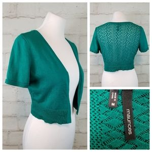 Maurices M Green Cropped Crochet Back Open Shrug